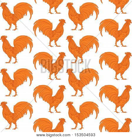 Orange fire decorative rooster on white background seamless pattern. Background illustration for New Year 2017 design.