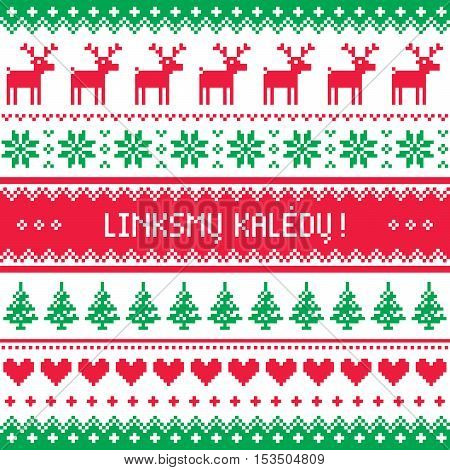 Linksmu Kaledu - Merry Christmas greetings card in Lithuanian - winter pattern style with reindeer