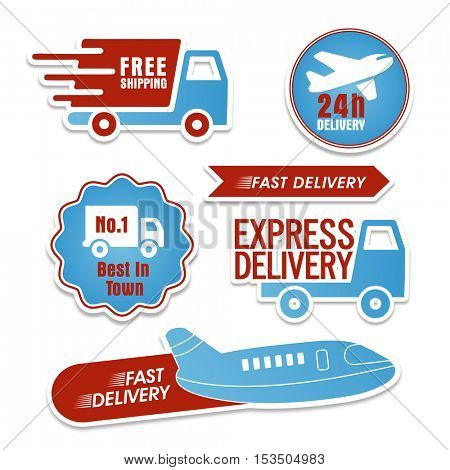 Express Delivery Stickers, Products Delivery Labels, Tags or Badges collection with different transportation, Creative vector illustration.