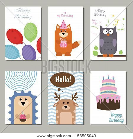 Set of beautiful birthday invitation cards decorated with animals on white background.