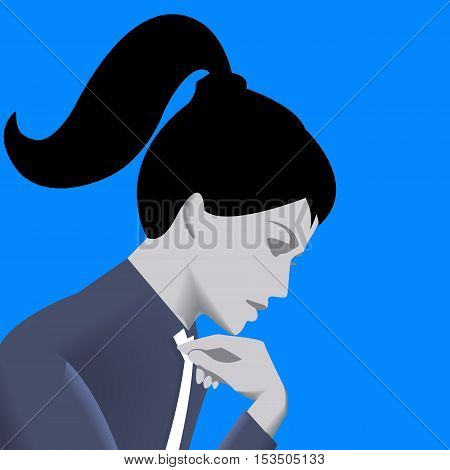 Thinking business lady template. Pensive business lady in business suit isolated on blue background. Vector illustration. Use as template background or part of design.