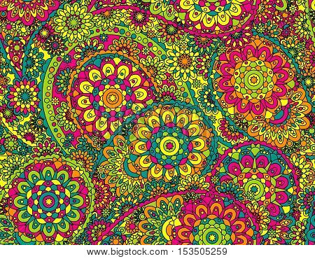 vector seamless graphical paisley print with flowers, dots, leaves