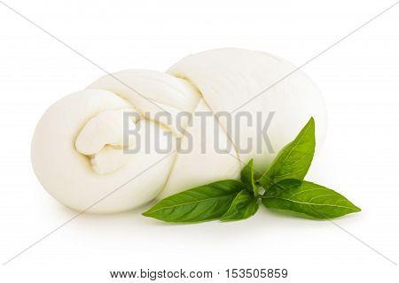 Fresh Italian mozzarella isolated on white background.