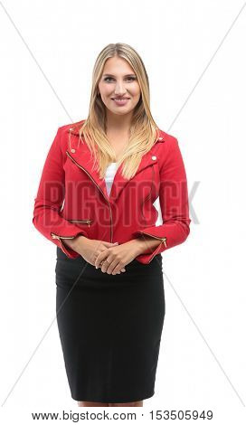 Portrait of beautiful successful  businesswoman  isolated on whi