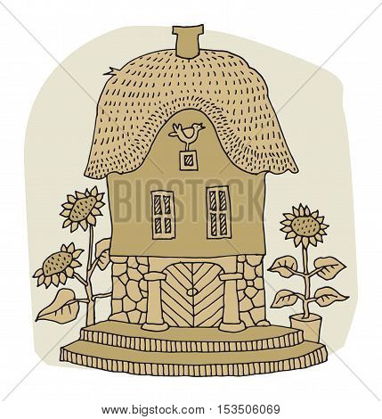 Cartoon hand drawing house on white background, vector illustration