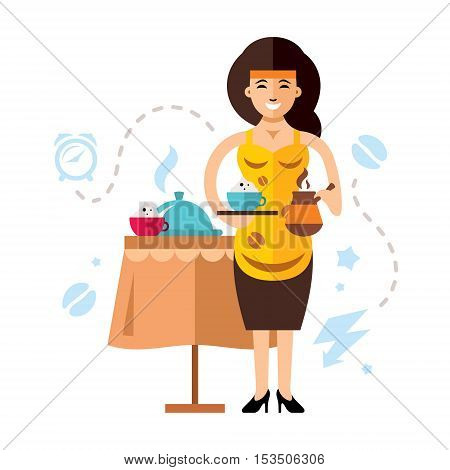 Lady with a cappuccino and Turkish Coffee Pot in the hands. Isolated on a white background