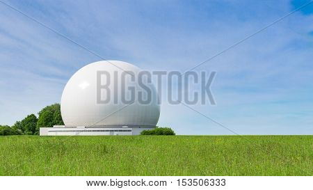 Big sphere of radar as part of big complex earth stations and ground terminals for radio communication and wireless data broadcasting