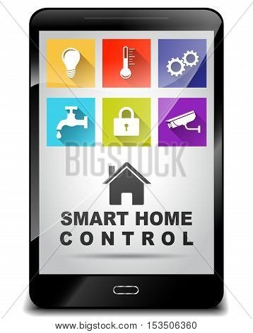 Illustration of smartphone for smart home control concept