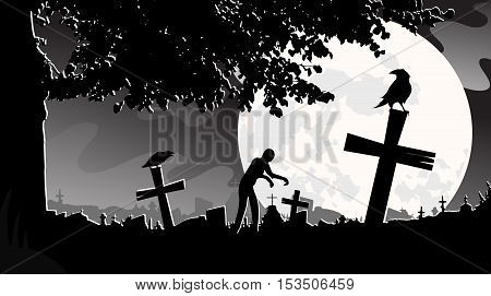 vector illustration panorama landscape cemetery, night, moon, tombstones, zombies monochrome tree crows