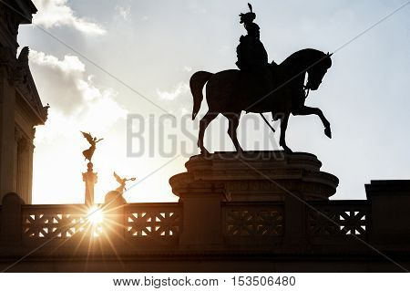 an equestrian sculpture of Victor Emmanuel the first king of a unified Italy, located in Rome Italy.