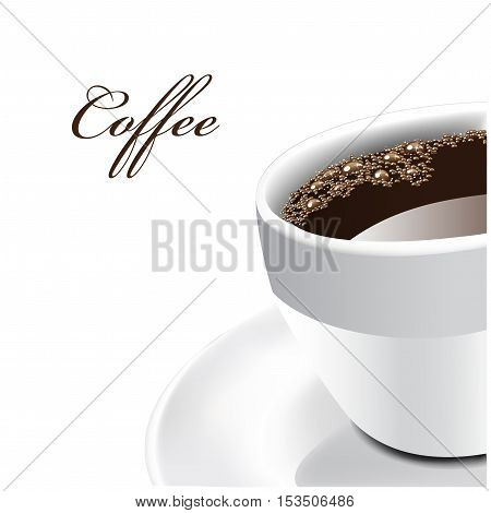 Vector cup of coffee on white background - illustration