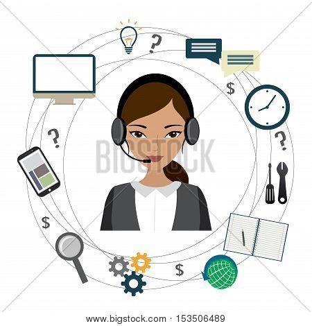 Customer service design Cartoon phone operator and icons. stock vector illustration