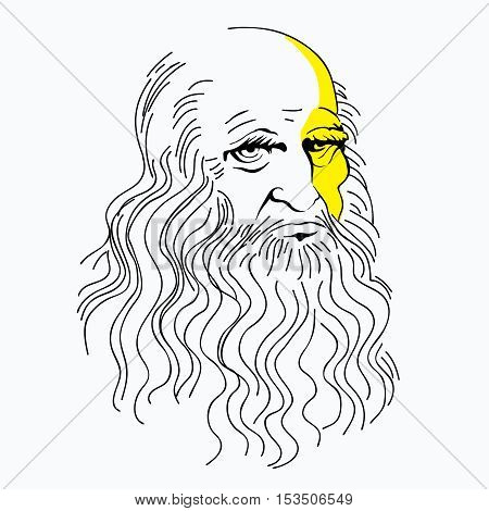 vector illustration portrait of Leonardo da Vinci, linear pattern, a symbol, an icon, a genius
