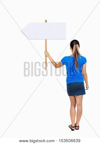 Back view woman showing sign board. man holds information plate. Rear view people collection. backside view of person. Isolated over white background. Girl in a blue shirt holding a pointer.
