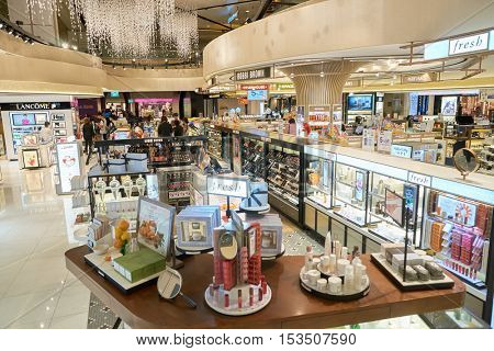 SINGAPORE - CIRCA AUGUST, 2016: a cosmetics store at Changi Airport. Cosmetics, also known as make-up, are substances or products used to enhance the appearance or fragrance of the body.