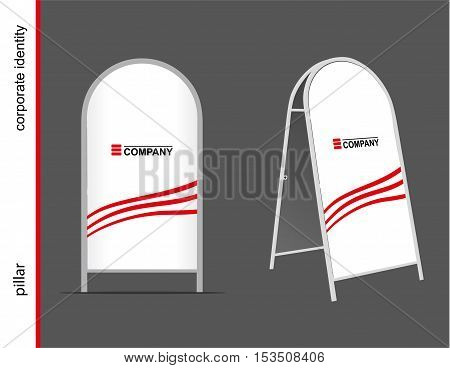 Template for advertising and corporate identity. Advertising pillar. Mockup for design.
