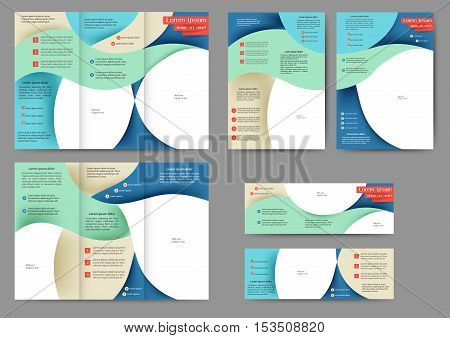 Set of brochure template with abstract lines and waves