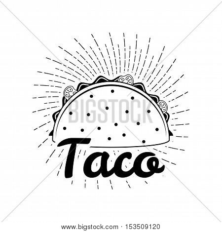 Taco illustration on white background, isolated. Mexico Food. Traditional Mexican Cuisine Vector