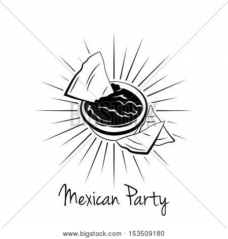 Nachos With Salsa Sauce. illustration on white background, isolated. Mexico Food. Traditional Mexican Cuisine Vector