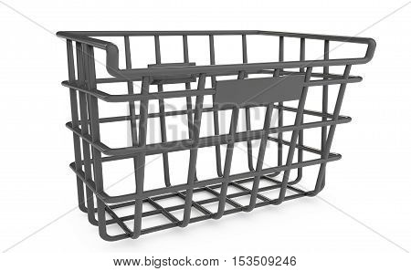 Empty shopping basket isolated on white 3d render