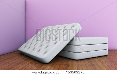 mattresses in an empty room 3d rendering