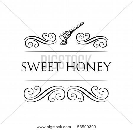 Sweet honey vintage filigree divider frame. Wooden honey dipper, sketch style vector illustration isolated on white background.