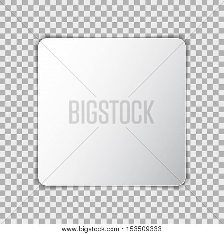 White blank poster mockup in square sheet of paper on transparent background