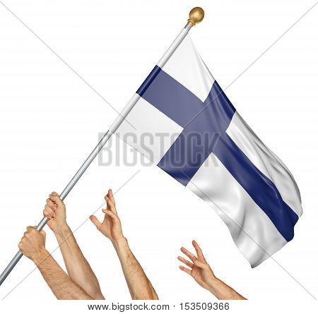 Team of peoples hands raising the Finland national flag, 3D rendering isolated on white background