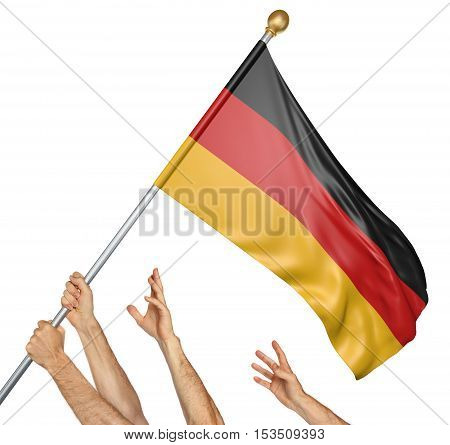 Team of peoples hands raising the Germany national flag, 3D rendering isolated on white background