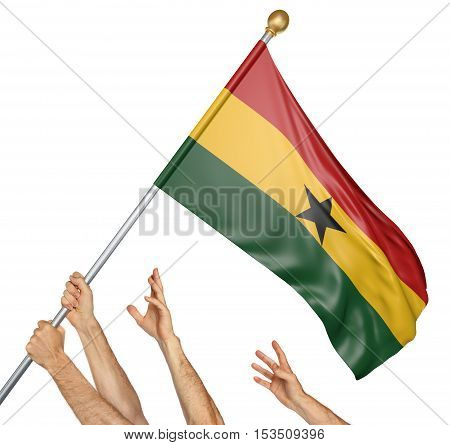 Team of peoples hands raising the Ghana national flag, 3D rendering isolated on white background