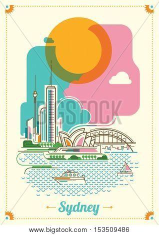 Modern Sydney illustration in color. Vector illustration.