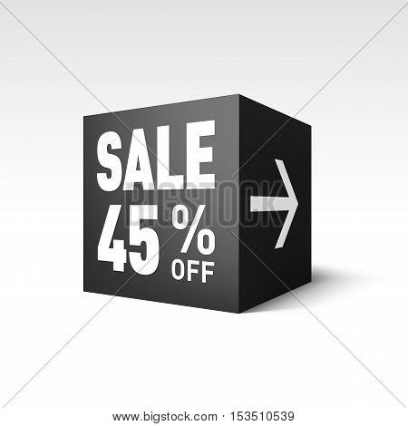 Black Cube Banner Template for Holiday Sale Event. Forty-five Percent off Discount