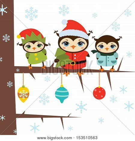 Christmas owls. Illustration with cartoon owls sitting on the tree branch. Background with snowflakes.