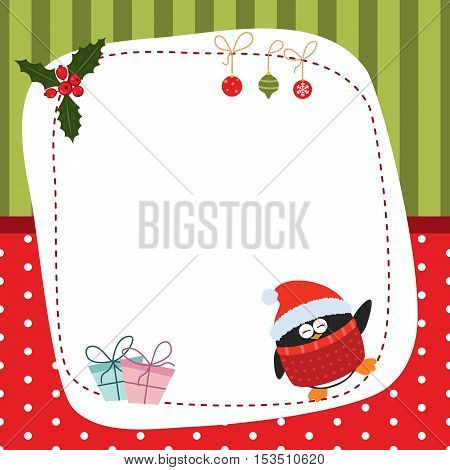Christmas and new year greeting card with penguin and space for your text. Background with stripes and polka dots.
