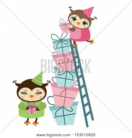 Birthday owl and gifts illustration. Owl on stairs isolated on white background. Owl holding a gift.