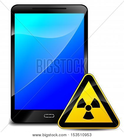 Illustration of radiation with mobile phone concept