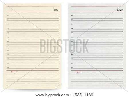 blank notebook sheet isolated on white background. Business diary
