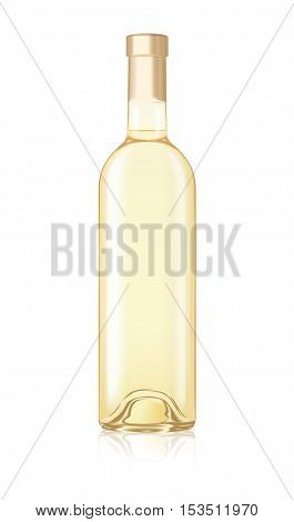 Mock-up Realistic White Wine Bottle Isolated Vector