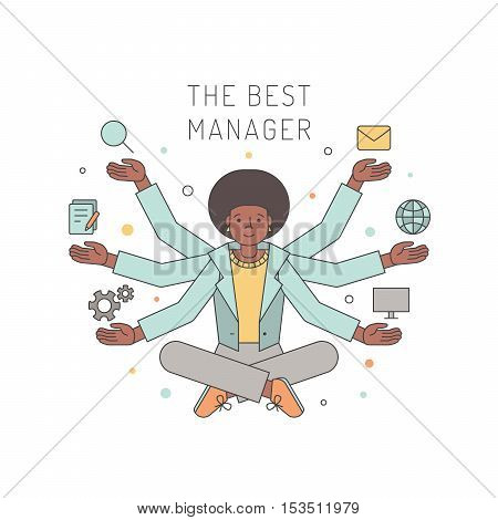 Many hands african american woman manager multicolored outline vector illustration. Business design concept.