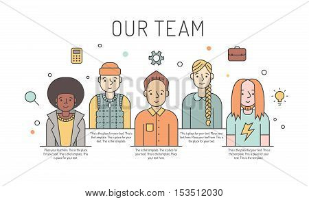 Multicolored vector work team illustration (women and men). Business design concept. Clean and simple design. Part three.