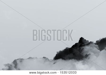 gray and white cloud from the explosion of a large unidentified creatures