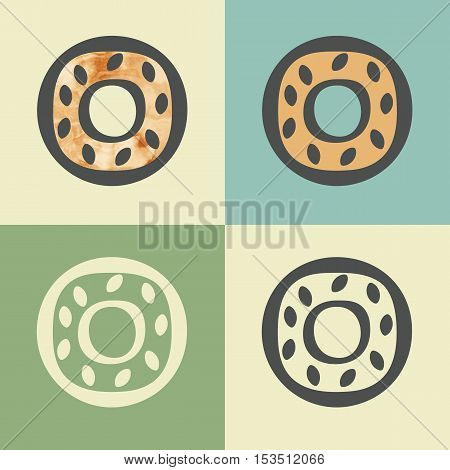 Vector outline donut food icon with watercolor fill. Elements for mobile concepts and web apps. Modern infographic logo and pictogram.
