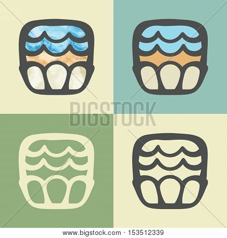 Vector outline creamy cupcake food icon with watercolor fill. Elements for mobile concepts and web apps. Modern infographic logo and pictogram.