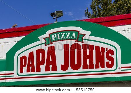Logansport - Circa October 2016: Papa John's Take-Out Pizza Restaurant. Papa John's is the third largest take-out and pizza delivery chain in the world