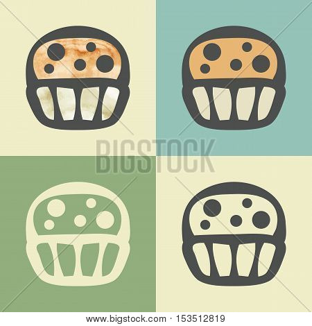 Vector outline cupcake food icon with watercolor fill. Elements for mobile concepts and web apps. Modern infographic logo and pictogram.