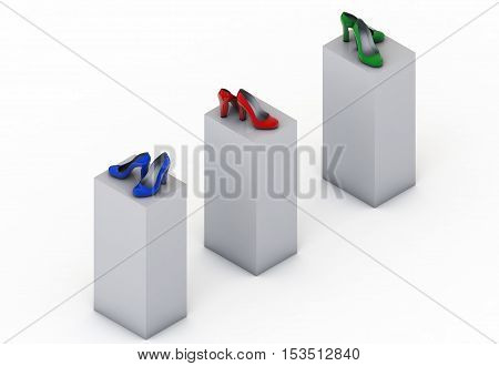 Pair of high heel shoes isolated on white isometric 3d render