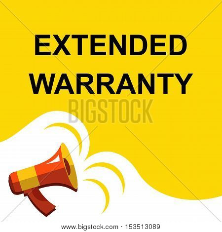 Megaphone With Extended Warranty Announcement. Flat Style Illustration