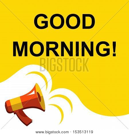 Megaphone With Good Morning Announcement. Flat Style Illustration