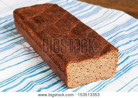 Delicious and healthy homemade rye bread closeup
