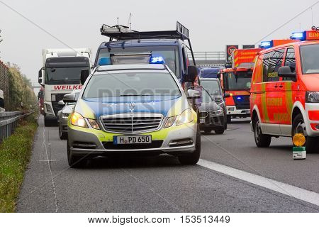 HANNOVER / GERMANY - OCTOBER 25 2016: German police car stands on freeway a2 by a truck crash near Hannover.